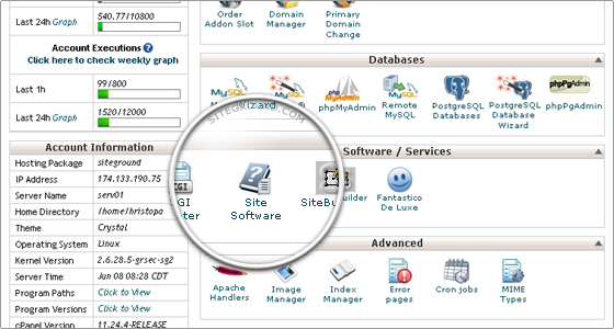 Site Software icon in cPanel